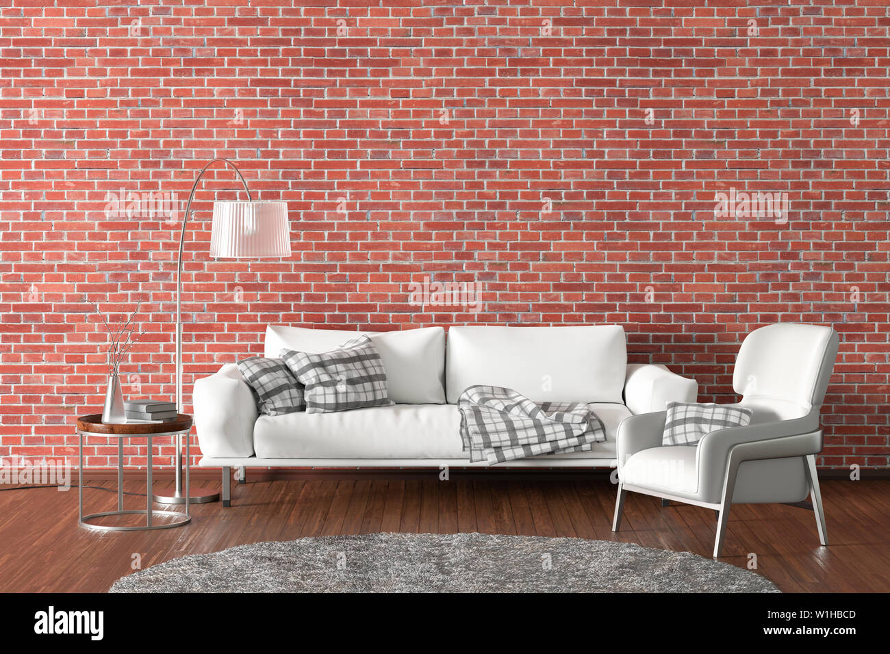 Interior Of Modern Living Room With Red Brick Wall And