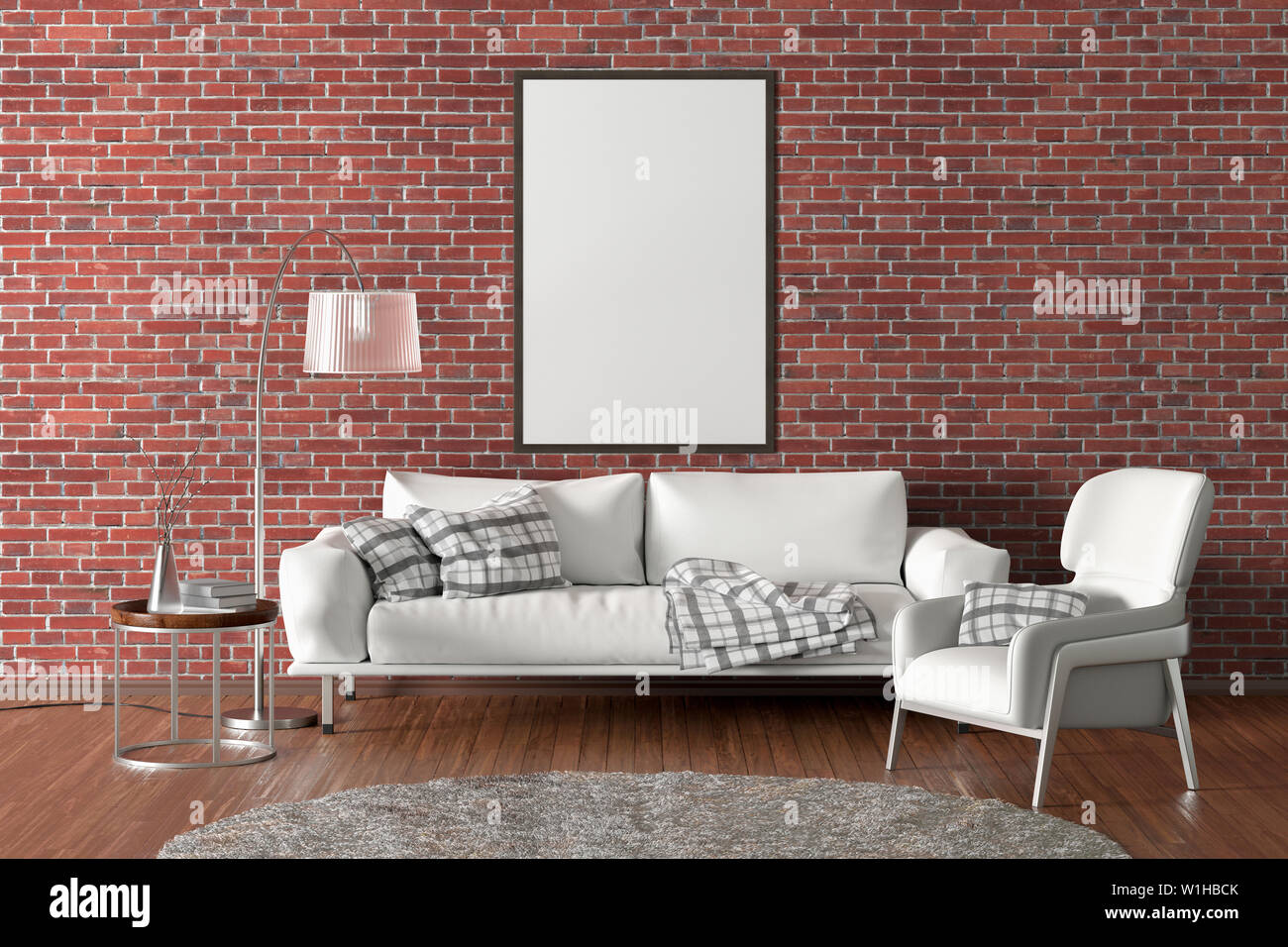 Vertical Blank Poster On Red Brick Wall In Interior Of Modern