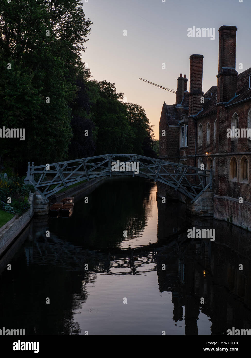 Mathematical Bridge - A bridge over the river Cam, there is  a myth that the bridge was designed by Isaac Newton - Stock Image