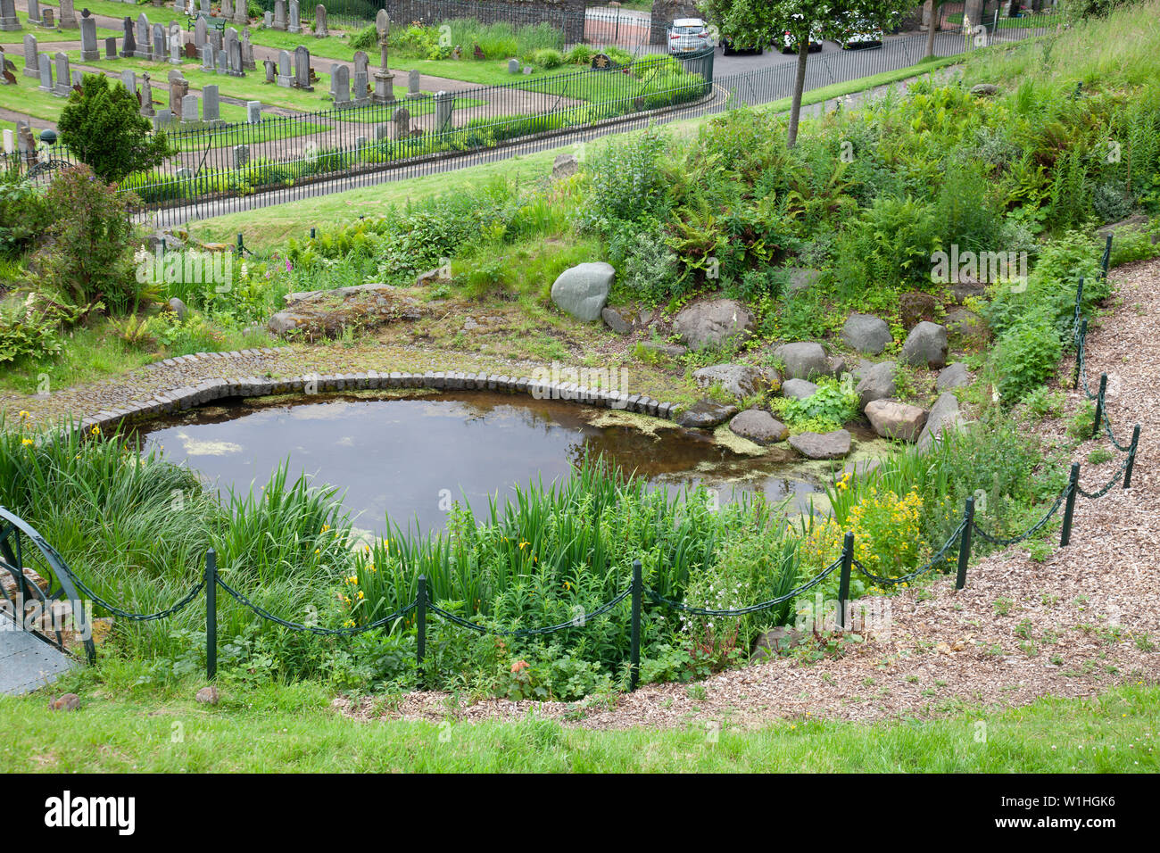 Pithy Mary Pond, a restored ornamental pond in the Drummond Pleasure ground, Stirling, Scotland, with part of the Old Town Cemetery behind. - Stock Image