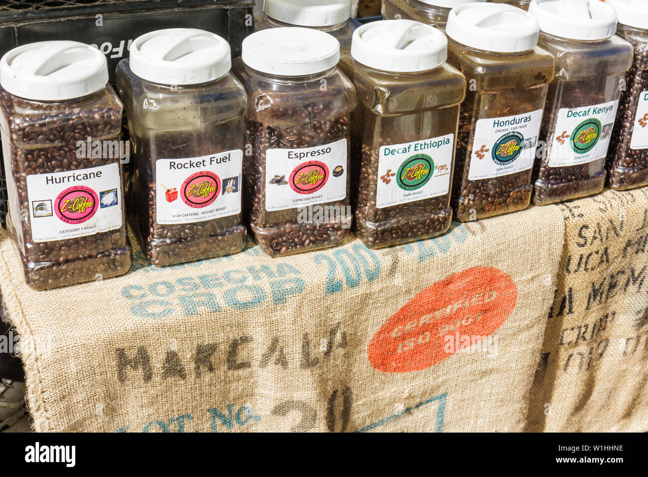 Winter Park Florida Farmer's Farmers Market shopping vendor gourmet Z-Coffee artisan roasters coffee whole beans product display - Stock Image