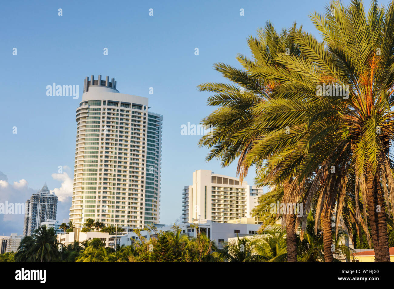 Miami Beach Florida Collins Avenue skyline Fontainebleau II luxury condo hotel resort oceanfront real estate high-rise skyscra - Stock Image