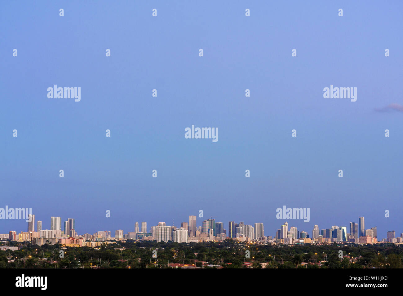 Miami Florida canal downtown skyline buildings dusk panoramic Stock Photo