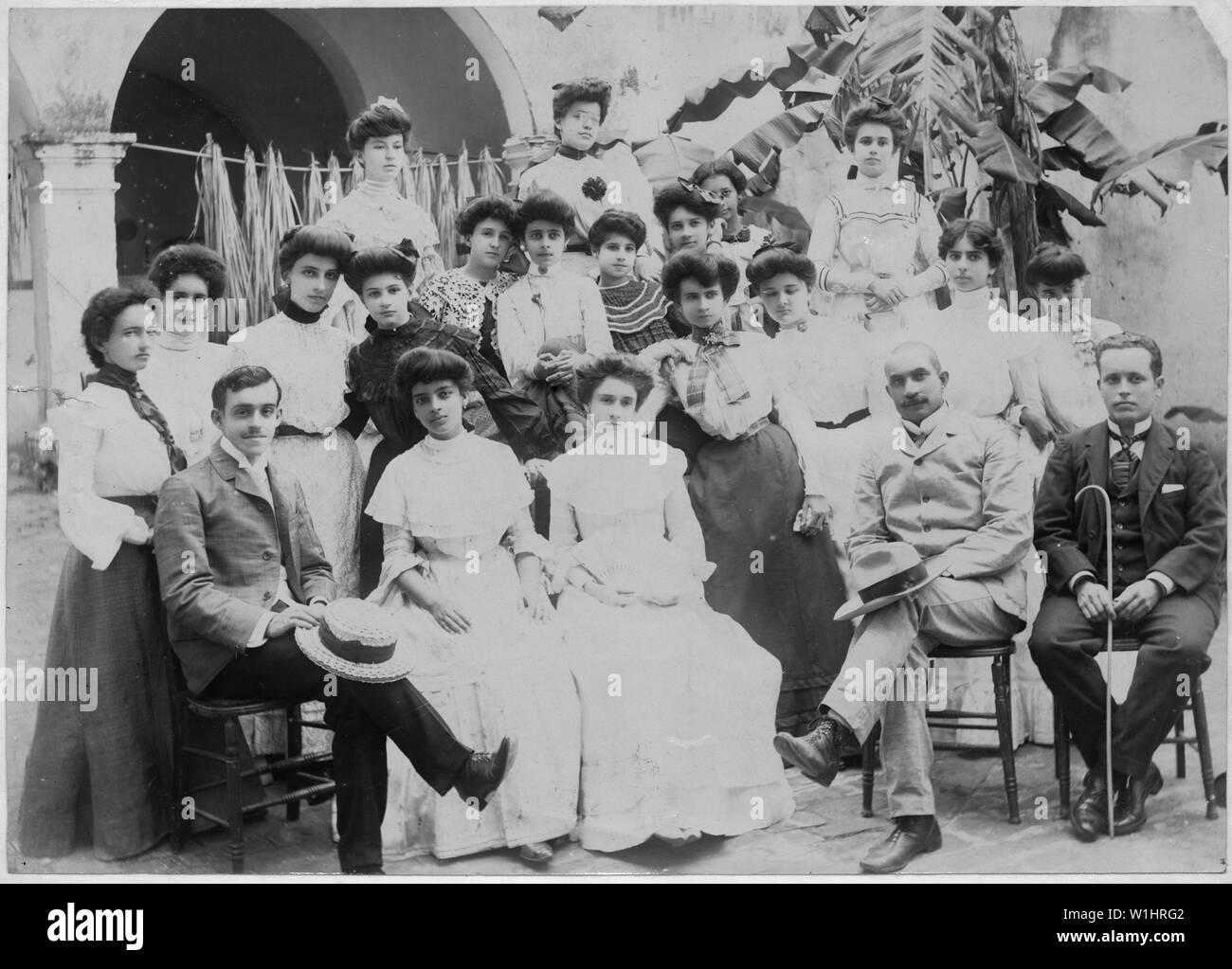 Puerto Rico. School-pupils and classes. Principal, teachers and a few advanced pupils. Mayaguez Industrial School. - Stock Image