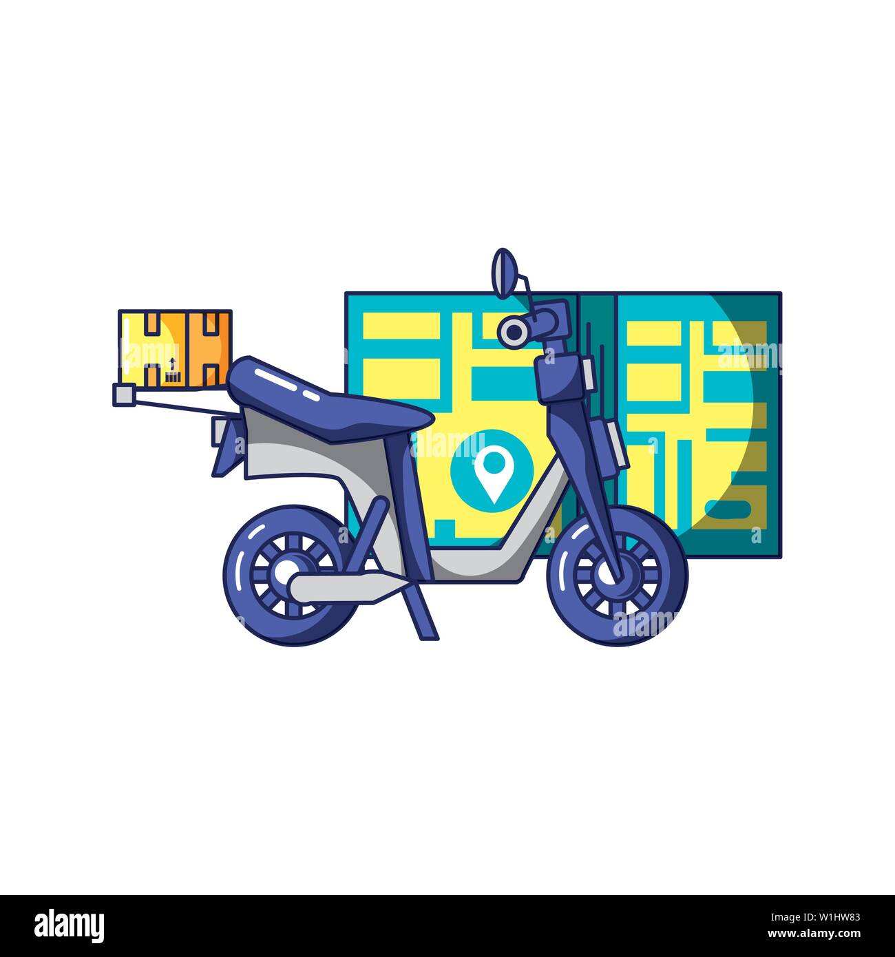 motorcycle delivery with box and map guide vector illustration design - Stock Image