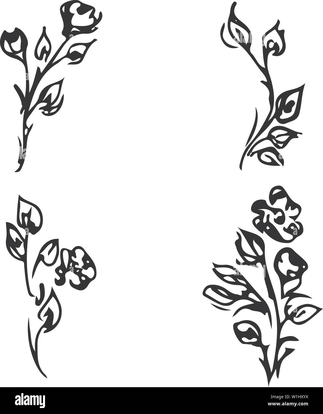 Flowers and branches isolated on white background. Hand drawn doodle collection. 4 floral graphic elements. Big vector set. Outline floral logotypes. Stock Vector