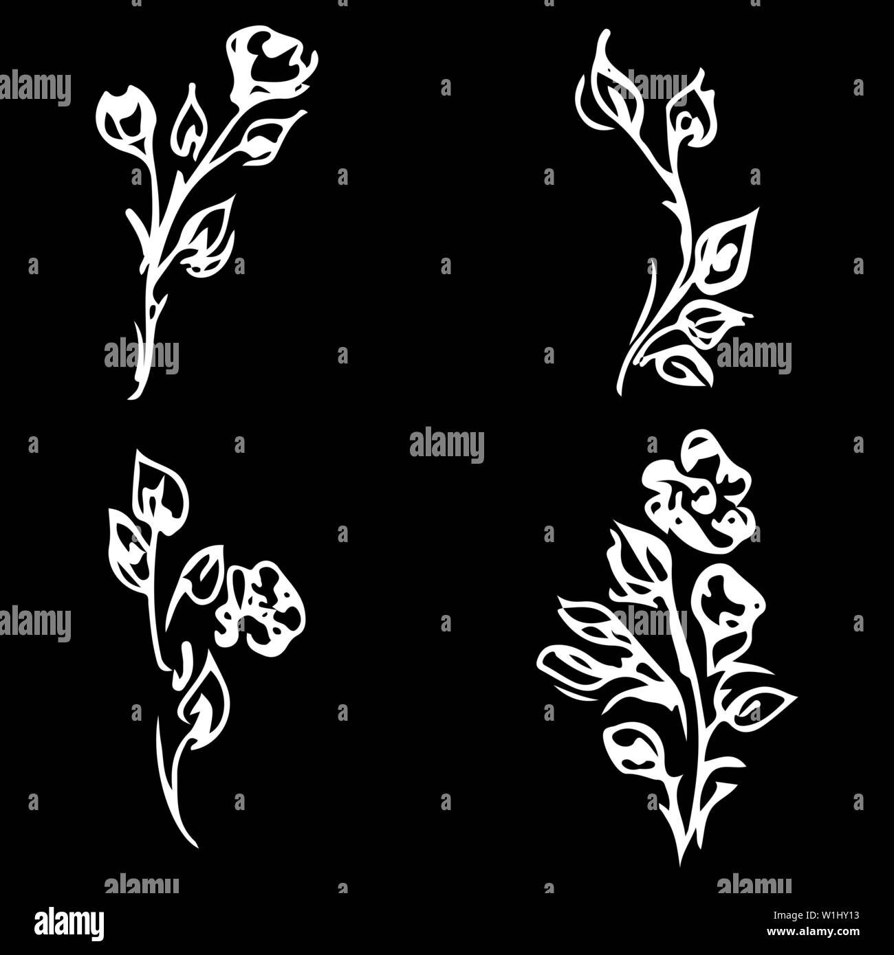 Flowers and branches isolated on black background. Hand drawn doodle collection. 4 floral graphic elements. Big vector set. Outline floral logotypes. Stock Vector