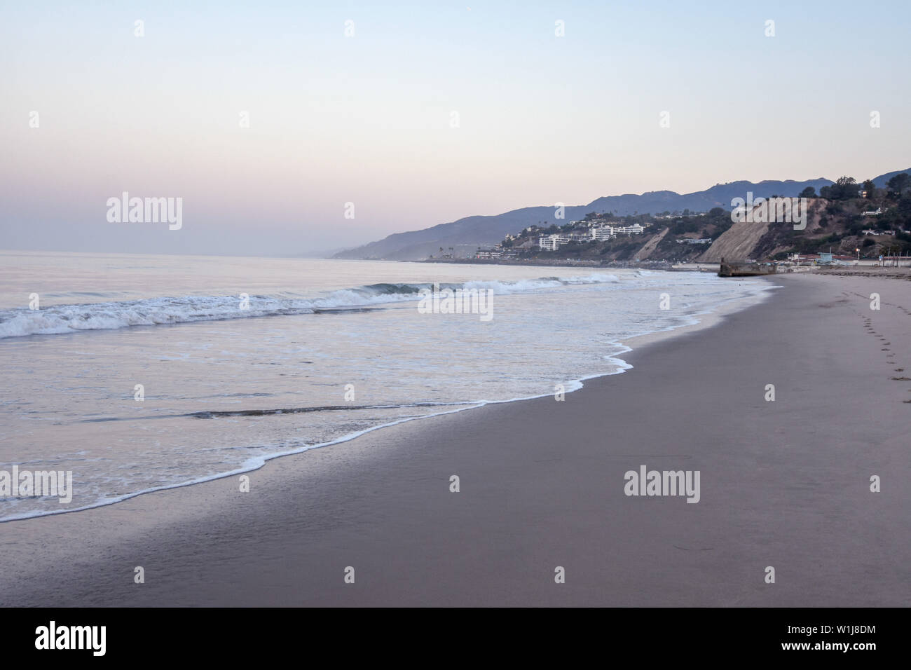 Santa Monica Beach at Sunrise - Stock Image