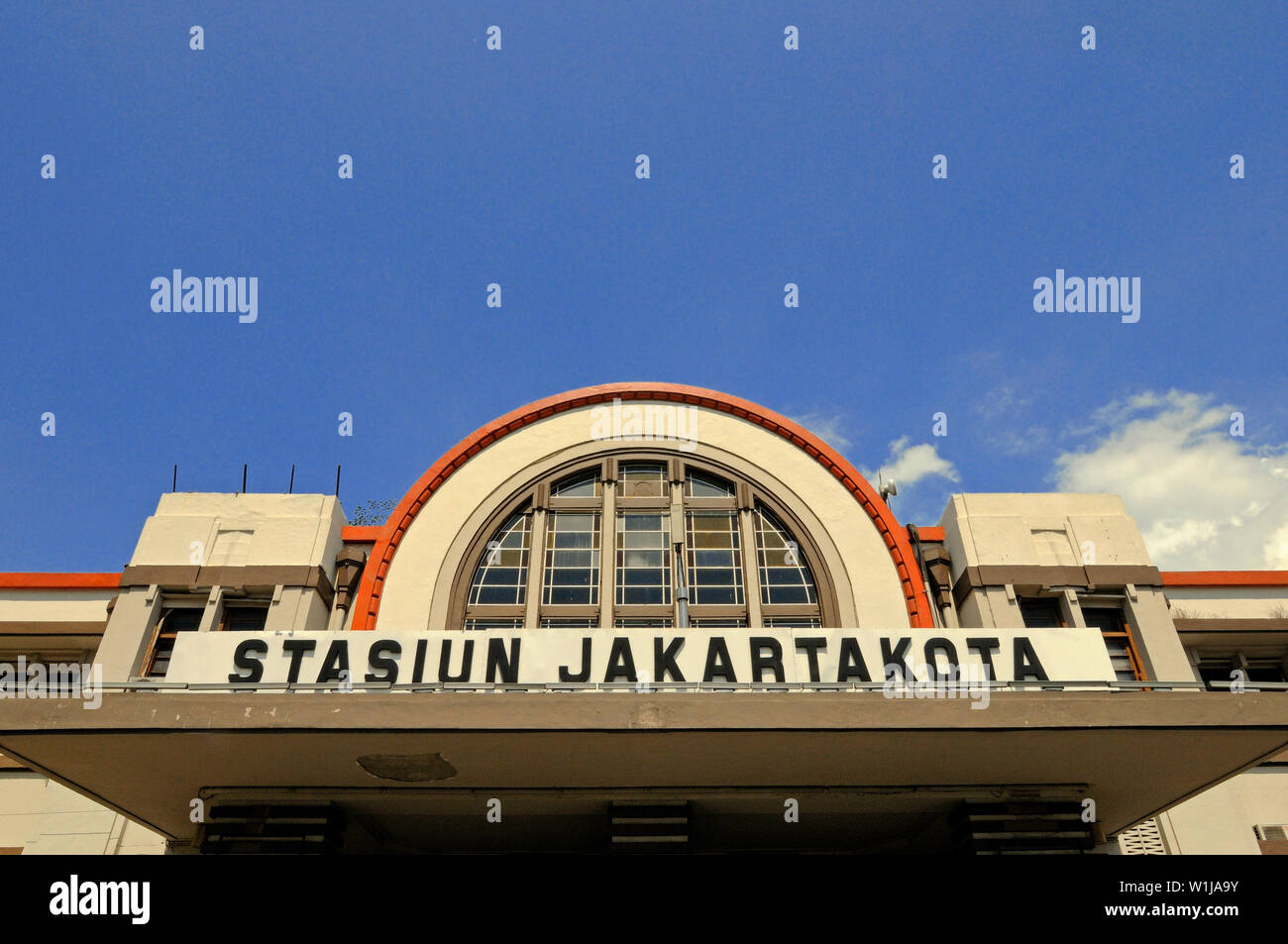 jakarta, dki jakarta/indonesia - may 18, 2010: front facade of the historical kota railway station - Stock Image