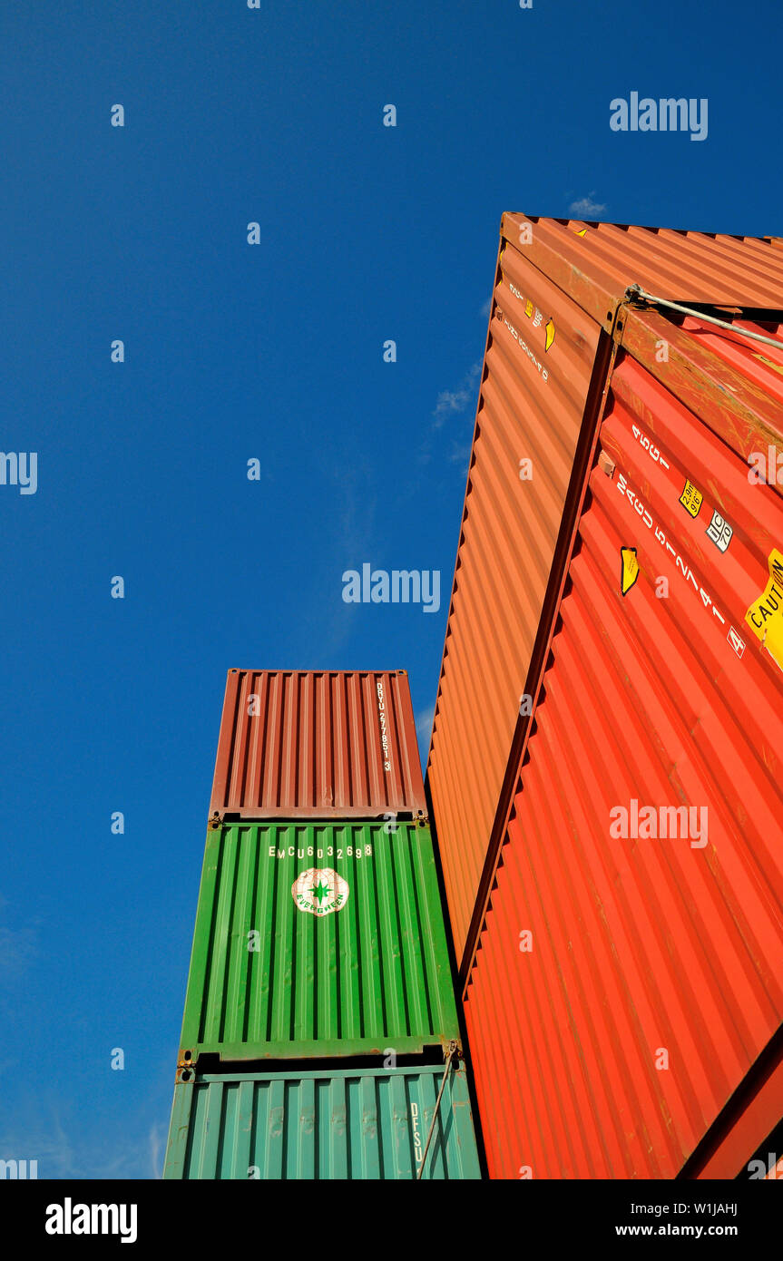 caribbean sea -  2013.10.13: view onto deck stowed containers aboard the container vessel conti daphne ( imo no 9357121) - Stock Image