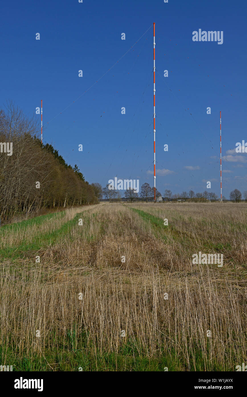burlage, niedersachsen/germany - april 15, 2015: navy  ultra long frequency wireleass transmission station dho 38 with its 352.9 m high masts - Stock Image