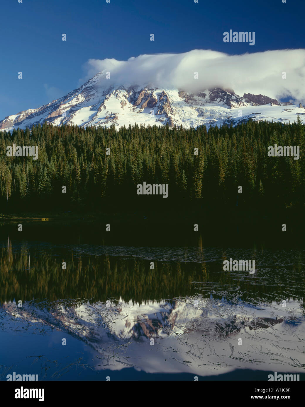 USA, Washington, Mt. Rainier National Park, Morning clouds shroud summit of Mt. Rainier which is mirrored in Reflection Lake. - Stock Image