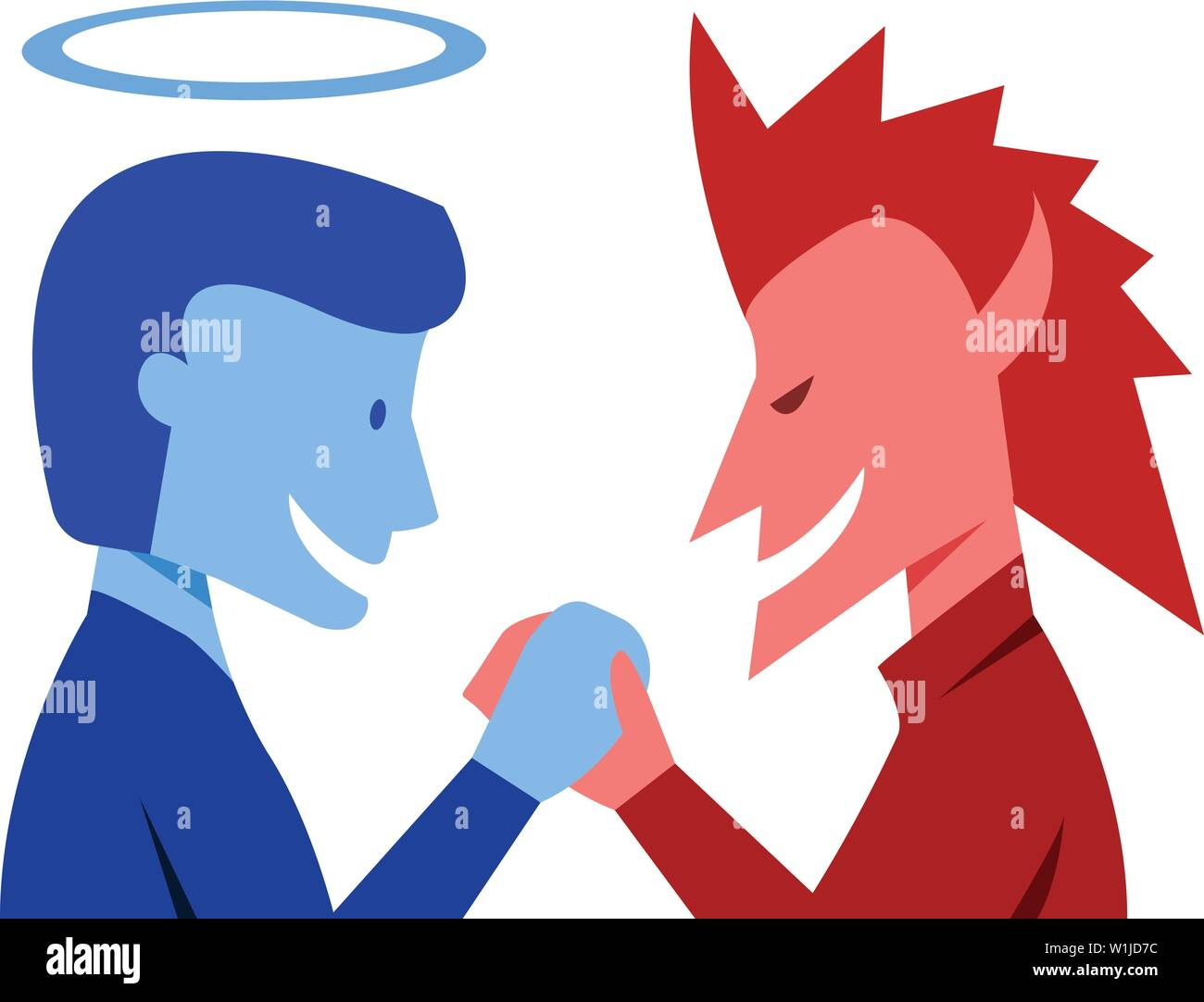 God and evil are shaking hands together, vector art - Stock Image