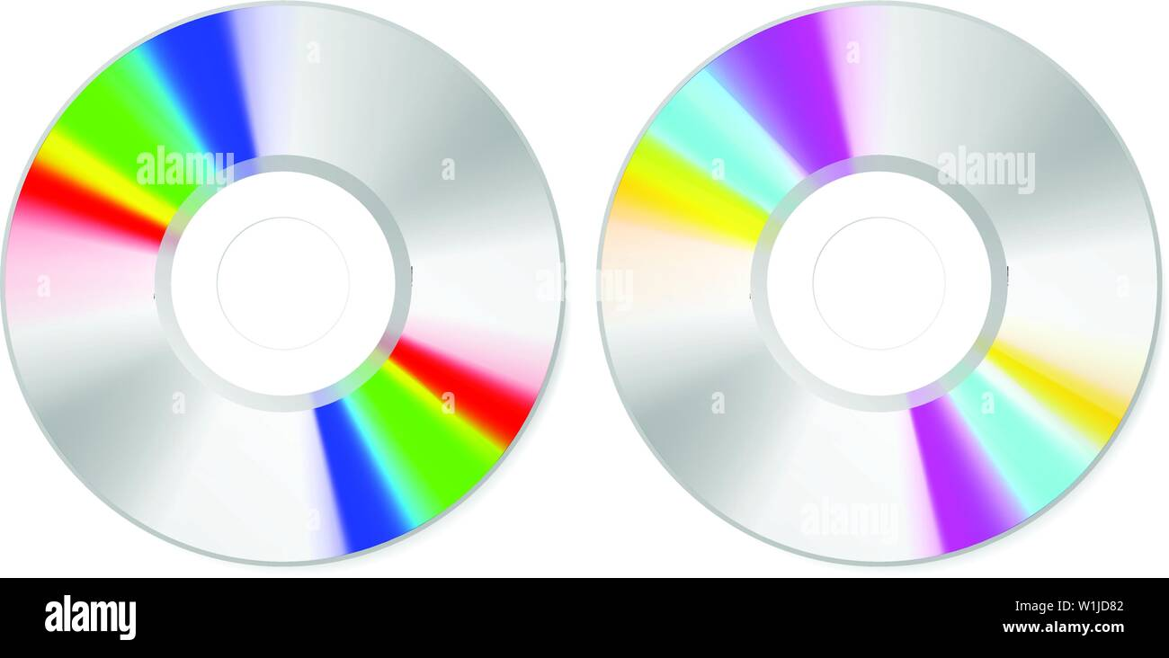 Top view spectrum color CD disk on white, vector art Stock Vector