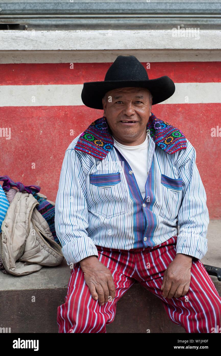 A maya indigenous man in traditional clothing in Todos Santos Cuchumatan,  Huehuetenango, Guatemala. Stock Photo