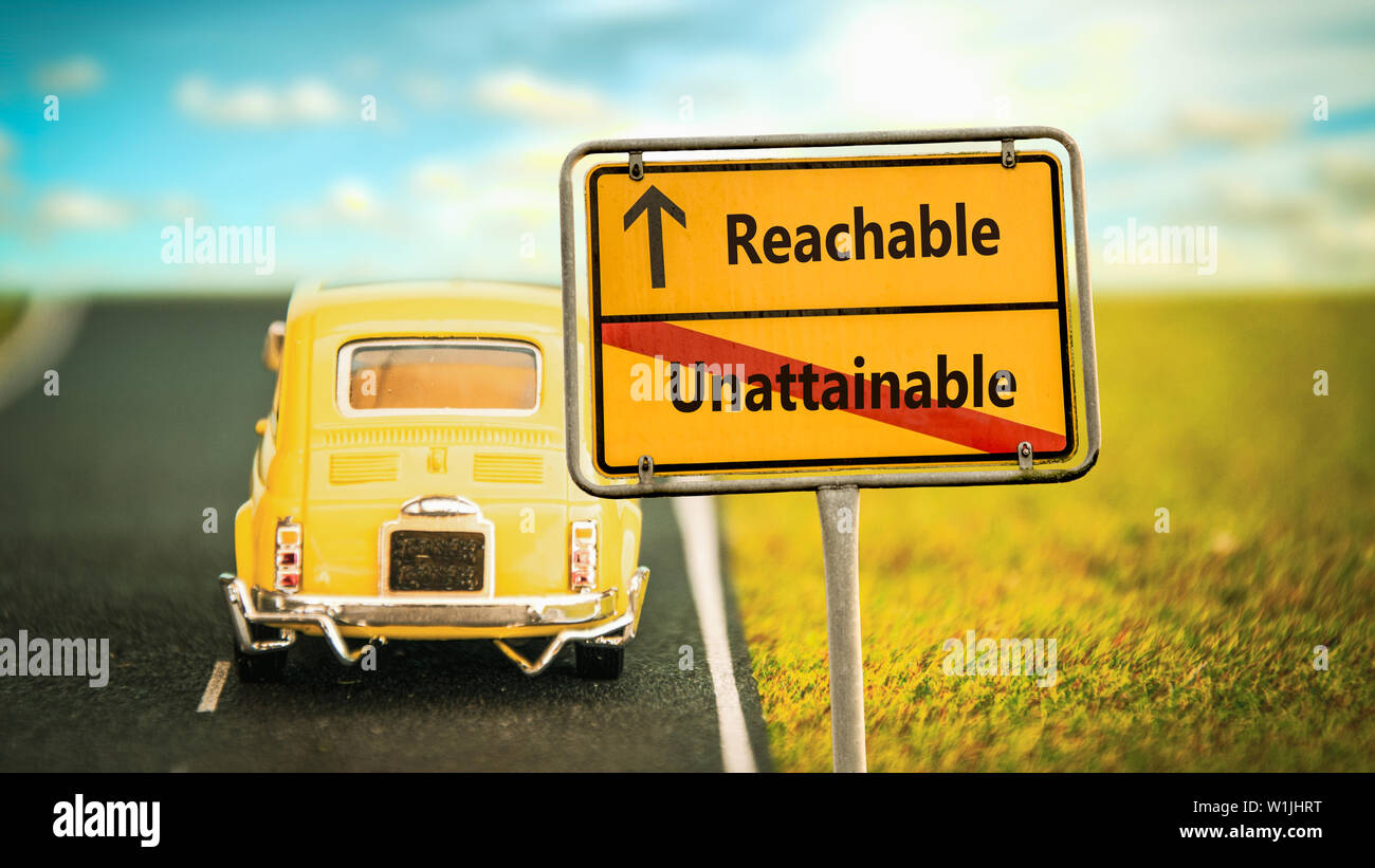 Street Sign the Direction Way to Reachable versus Unattainable - Stock Image