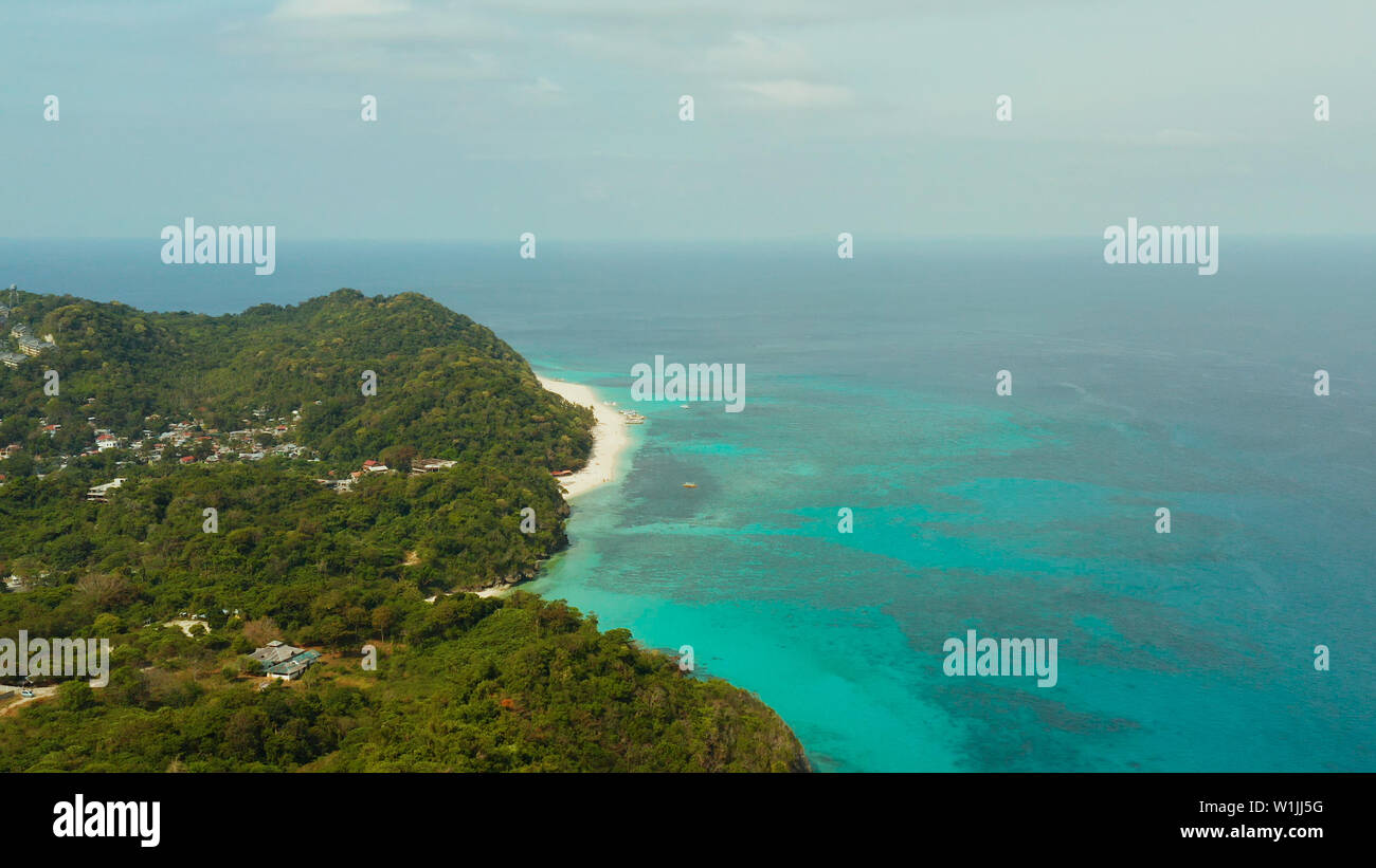 The Famous Tropical Island Of Boracay With White Beach Hotels Among