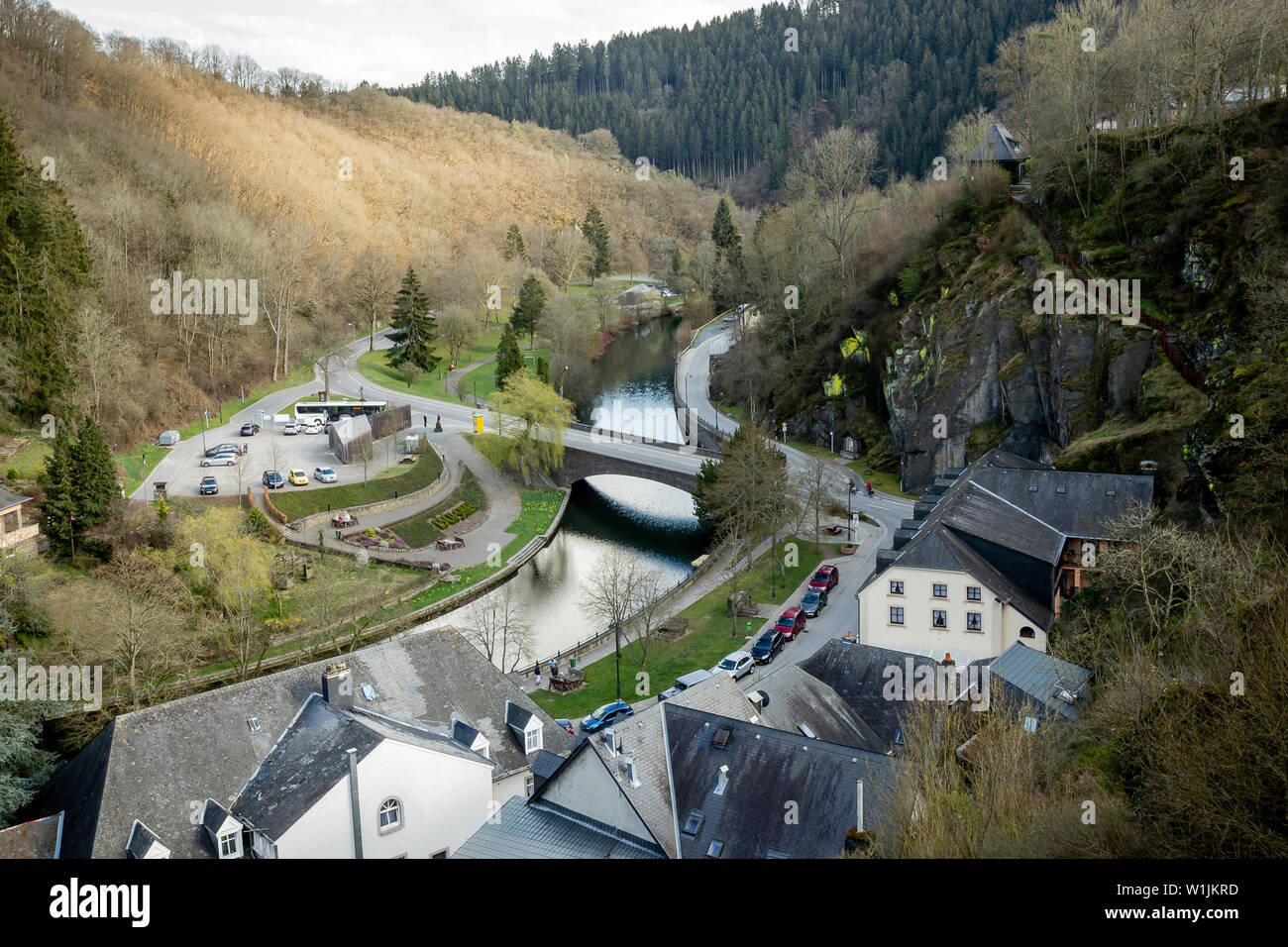 Romantic village by the river.Sauer, Luxembourg Stock Photo