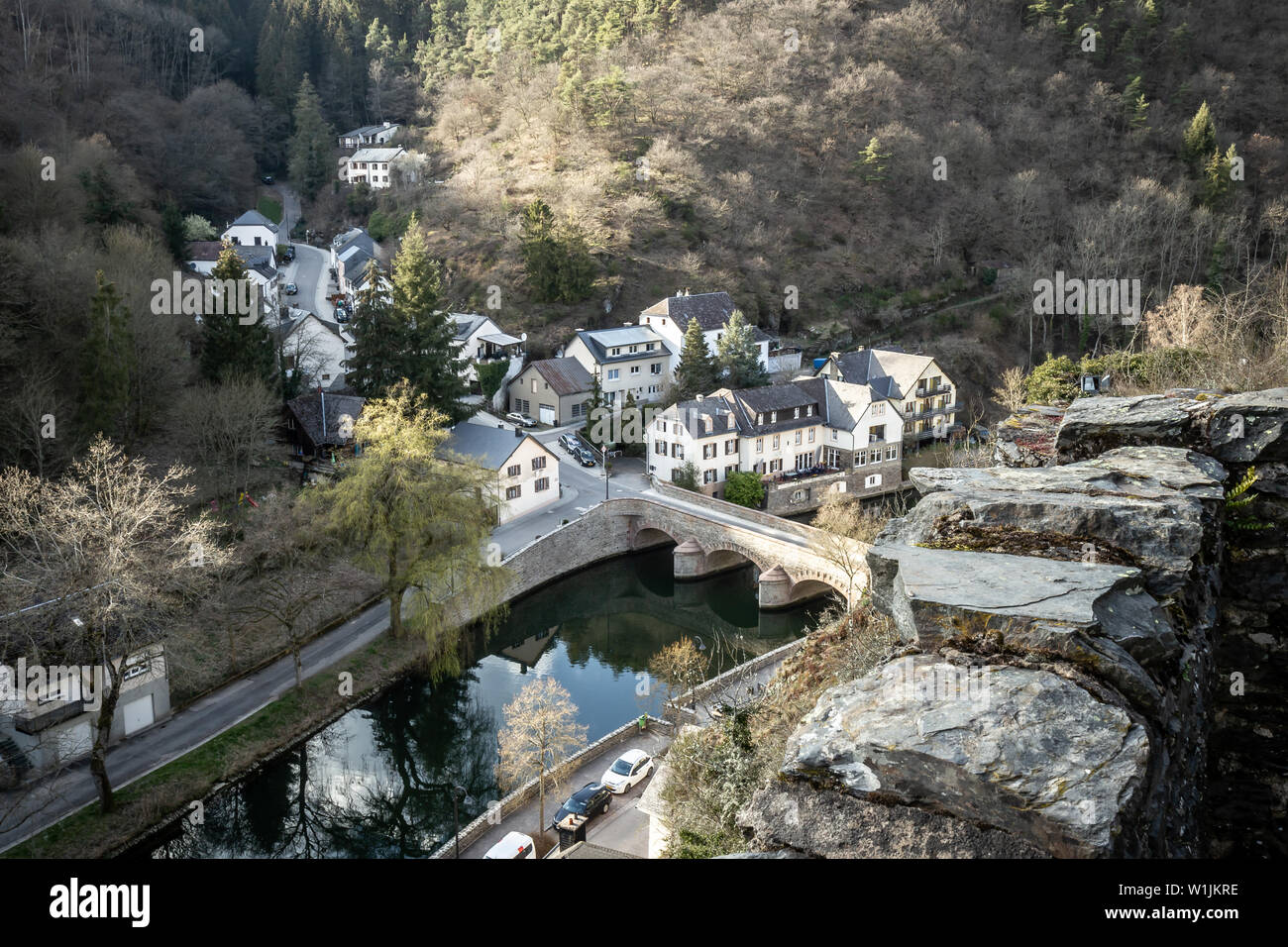 Romantic village by the river.Sauer, Luxembourg - Stock Image