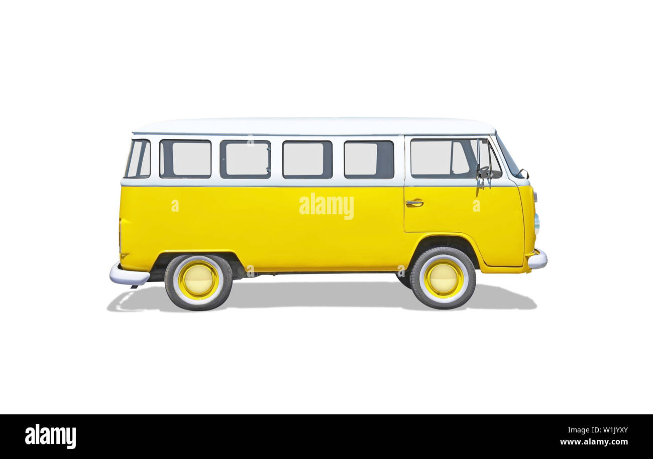 Isolated old, cult, hippie yellow van - Stock Image