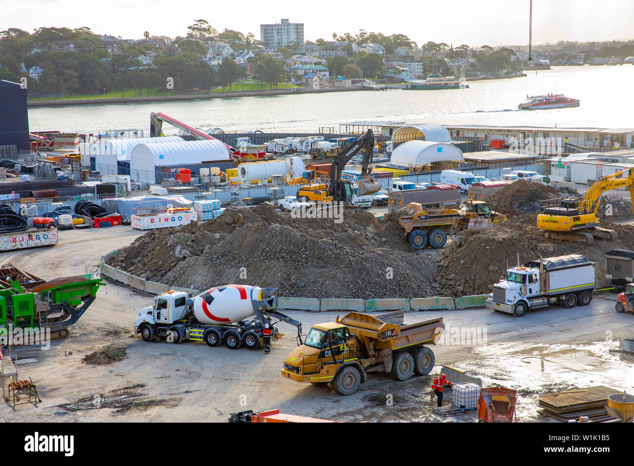 Sydney construction site, building work underway in the final stages of the Barangaroo development in Sydney,Australia - Stock Image
