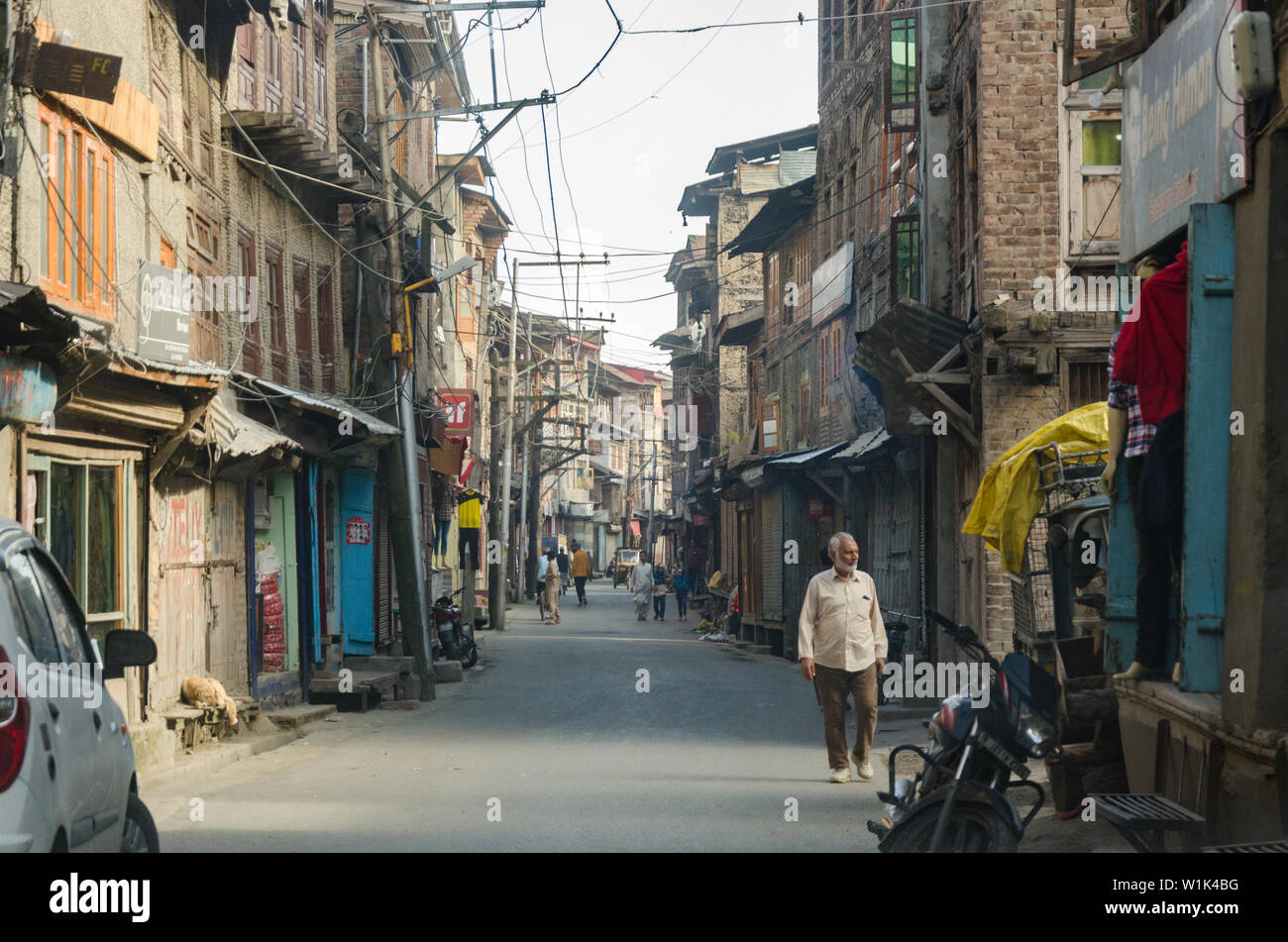 A street filled with abandoned Kashmiri Pandit houses at Habbakadal, Srinagar, Jammu and Kashmir, India Stock Photo