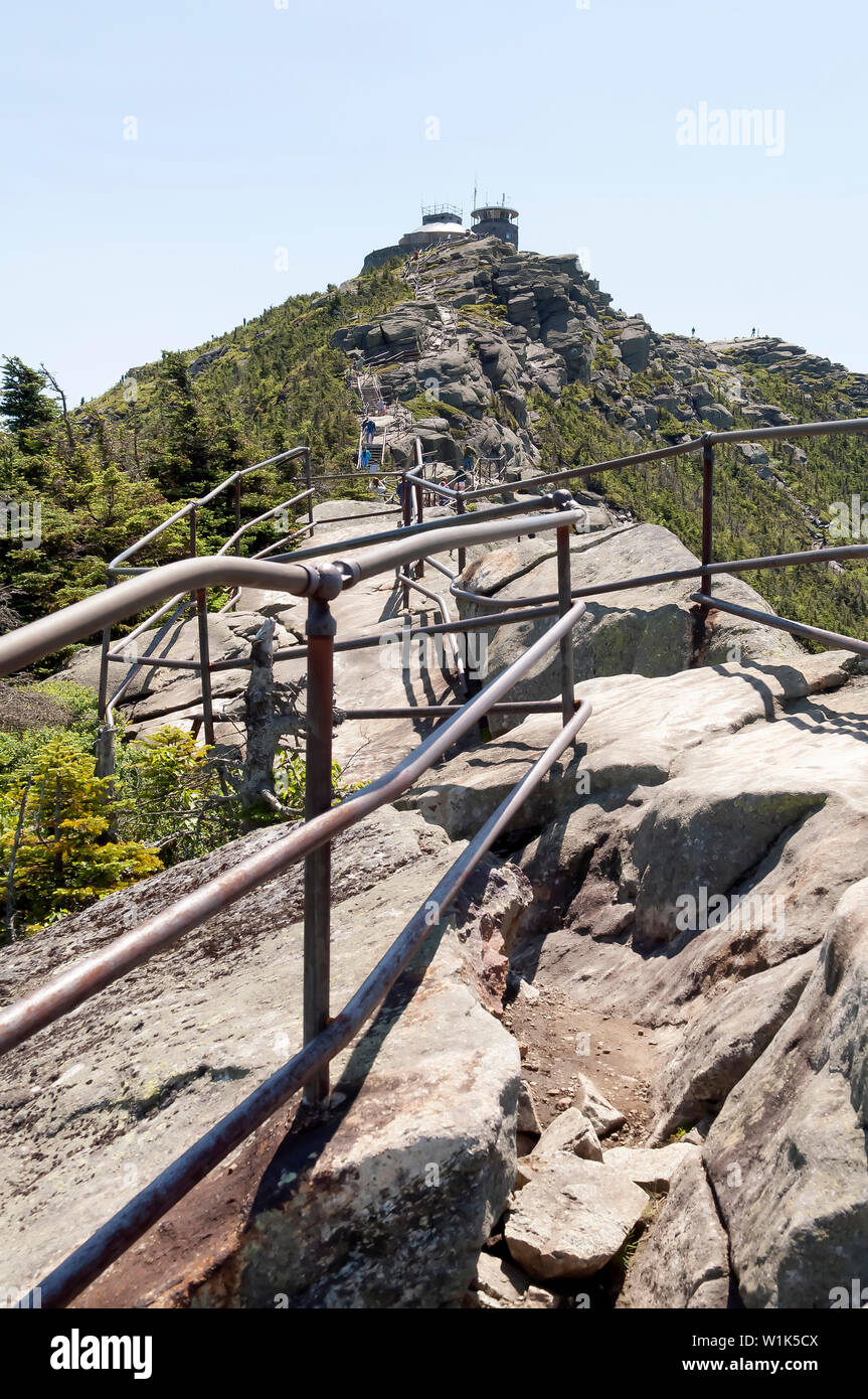 Railings at the top of Whiteface mountain in the Adirondack State Park, New York, USA Stock Photo