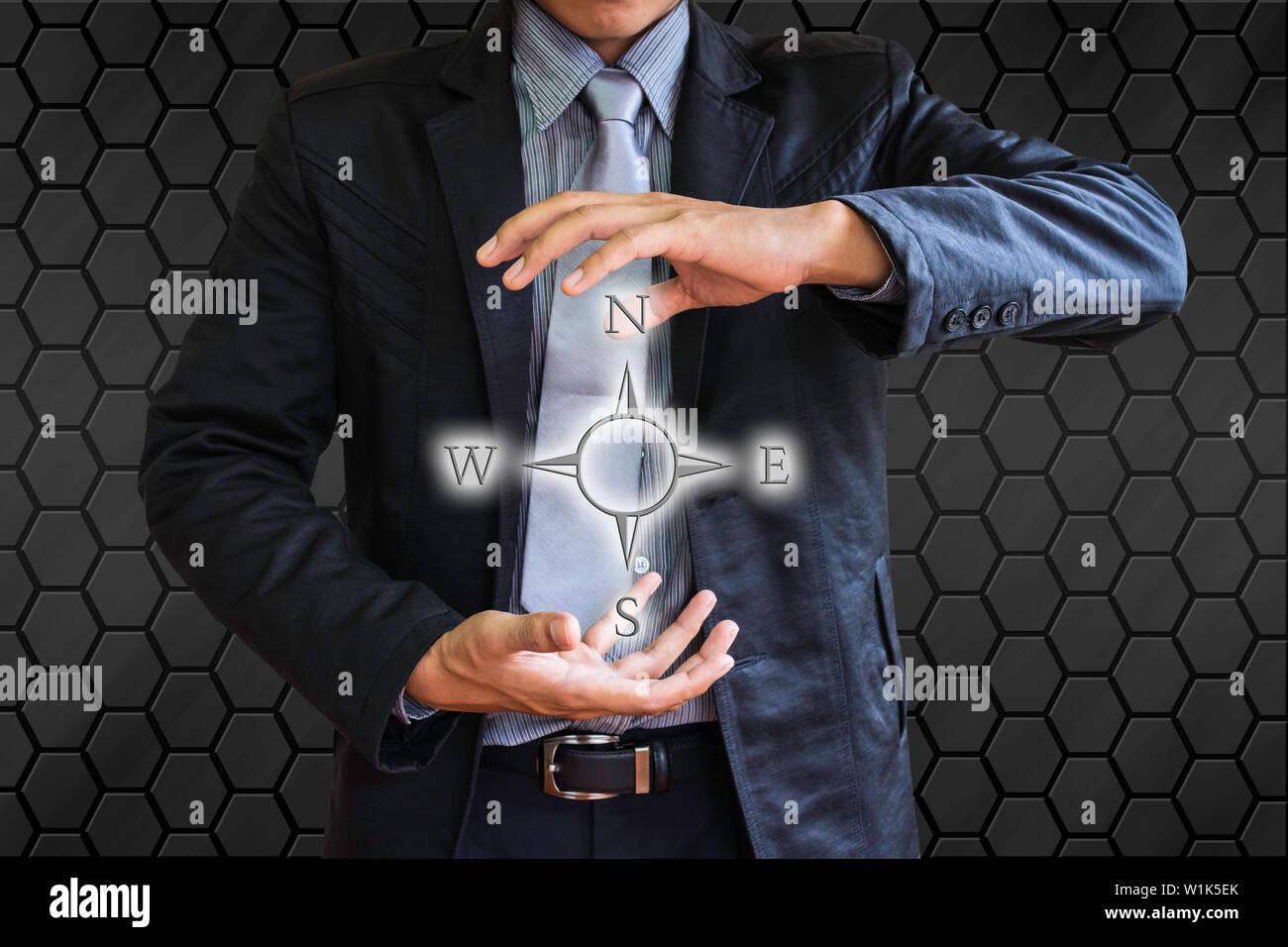 business man compass - Stock Image