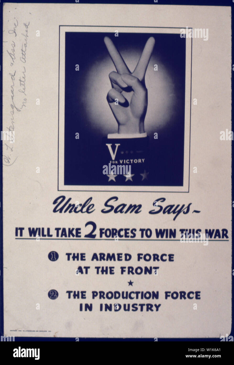 Uncle Sam Says-It will take two forces to win this war Stock