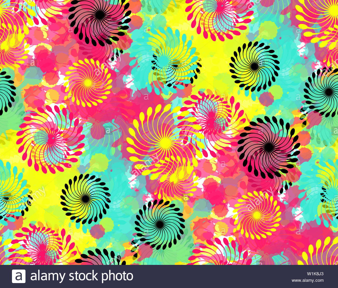 Abstract Floral Wallpaper Pattern With Helix Flowers In Multicolor