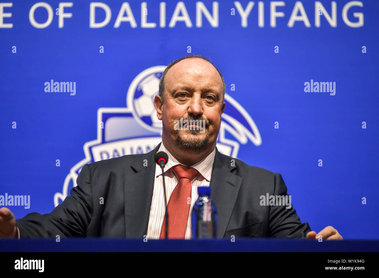 Spanish football manager Rafa Benitez, the new-appointed head coach of China's Dalian Yifang F.C., attends a press conference in Dalian city, northeast China's Liaoning province, 2 July 2019. Former Newcastle United manager Rafa Benitez is reportedly set to move to China to take charge of Chinese Super League side Dalian Yifang, after the departure of Choi Kang-hee. Sky Sports reported that the 59-year-old Spaniard has agreed a contract with Dalian which doubles the six million pounds a year he earned at St James's Park, and will be introduced as the new boss on Tuesday. Dalian announced late - Stock Image