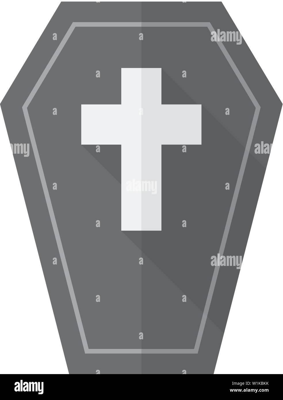 Coffin icon in flat color style Object dead man Halloween