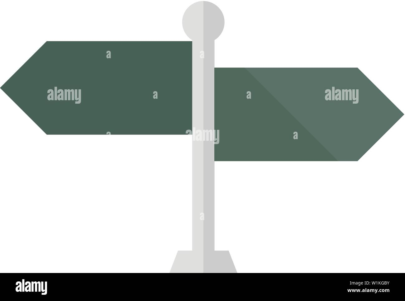 Road sign post icon in flat color style. Travel destination journey holiday - Stock Image