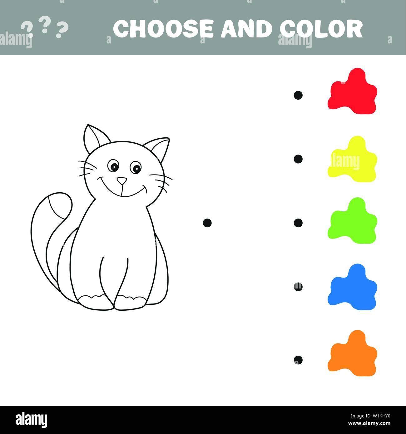 Funny little kitten. Coloring book. Educational game for ...