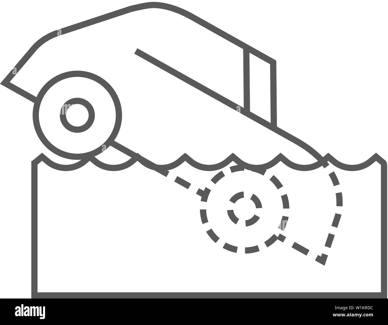 Drowned Car Icon In Thin Outline Style Automotive Natural Accident