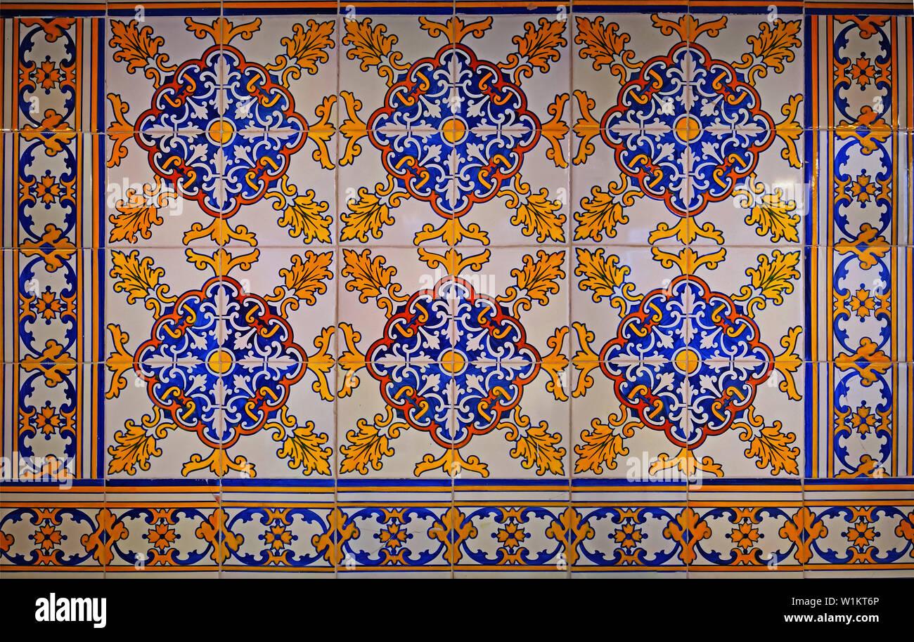 """ONDA Espana TILE Spanish Vintage Tiles 6/"""" Square Set of 4 Unique Colonial Scenes"""