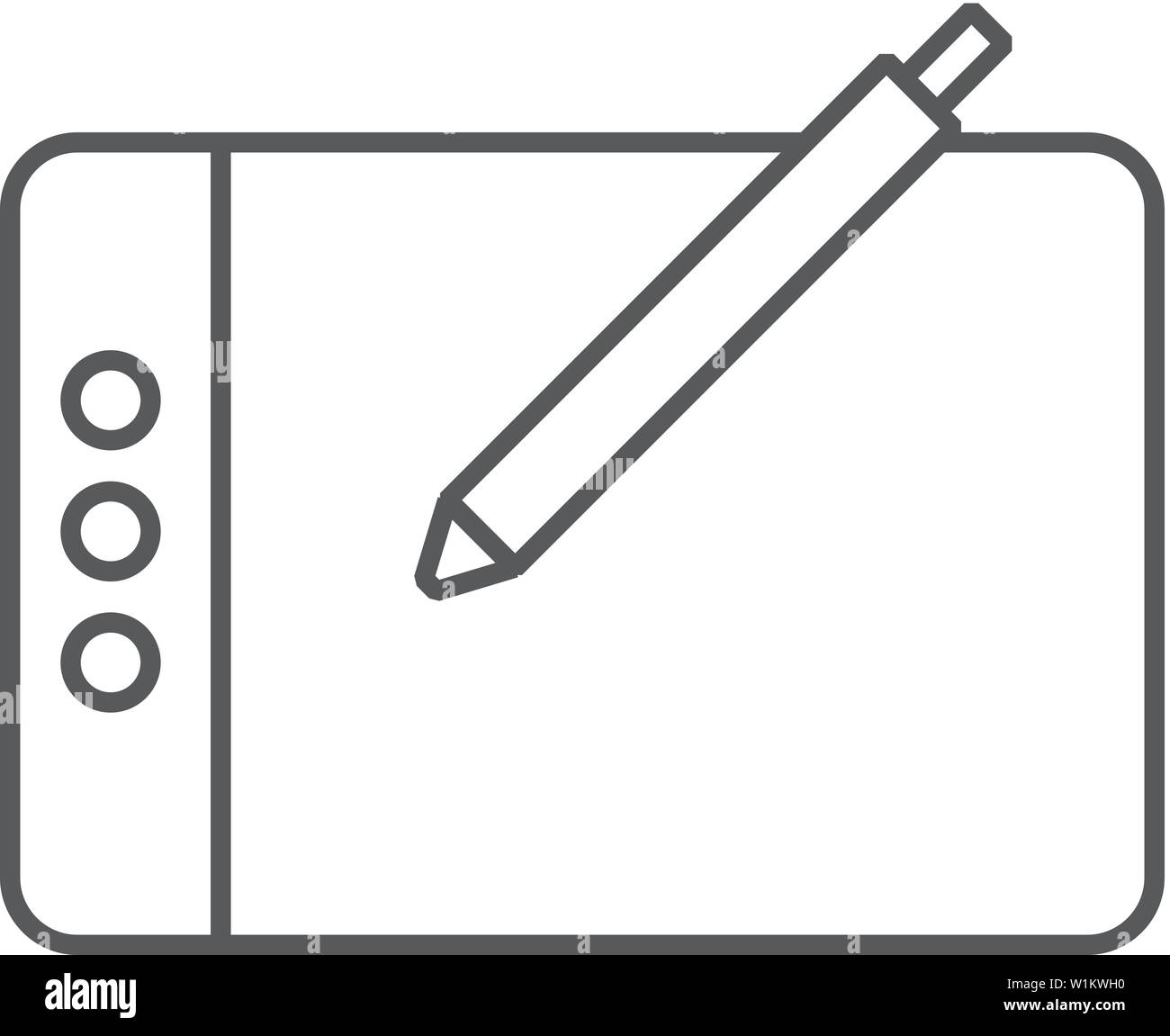 Drawing tablet icon in thin outline style  Illustrator tools