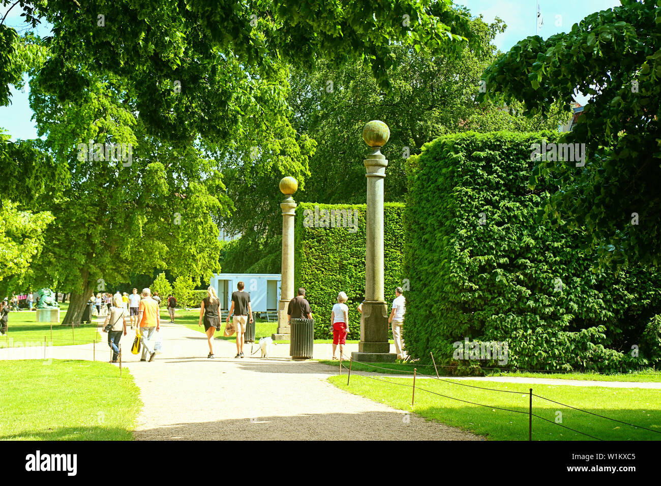COPENHAGEN, DENMARK - JUNE 16, 2019 Beautiful summer view of the king's garden near Rosenborg castle in central Copenhagen established since early 17t Stock Photo