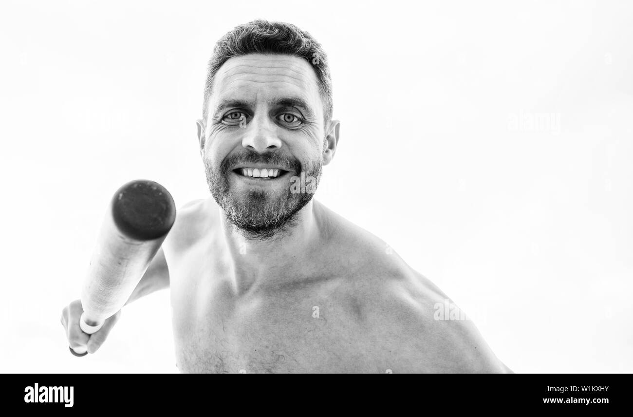 happy and successful. man with baseball bat. i am a criminal. Hooligan man hits the bat. Bandit gang and conflict. unshaven muscular man fighting. full of energy. sport activity and game. - Stock Image