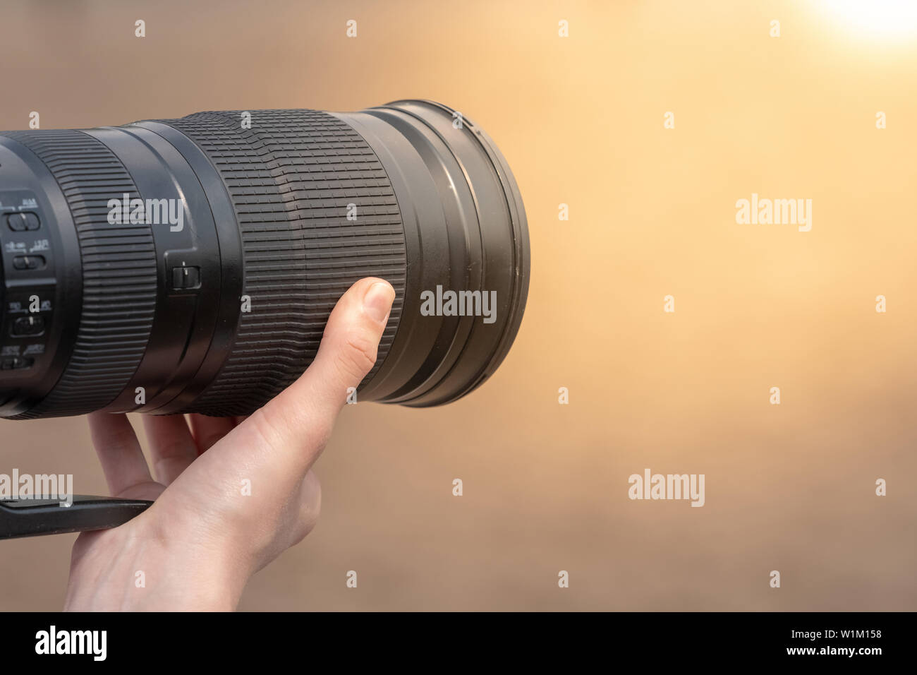 description: photographer shots with SLR camera Stock Photo