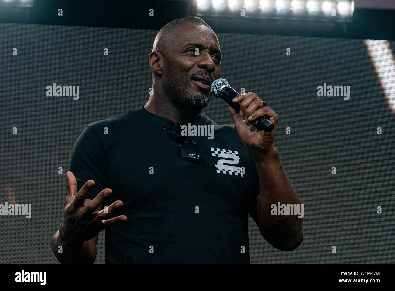 COLOGNE, GERMANY - JUN 28th 2019: Idris Elba (*1972, English actor, DJ and recording artist - The Fast & The Furious) , world premiere of the final movie trailer for Fast & Furious Hobbs & Shaw at CCXP Cologne Stock Photo