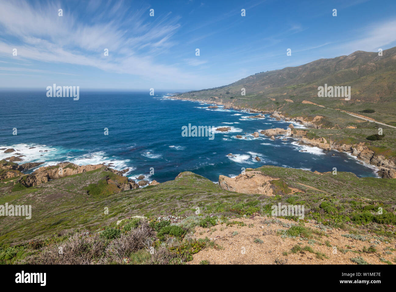 Ocean and mountains. View from atop Whale Peak. Garrapata State Park, Monterey coast, California, USA. - Stock Image