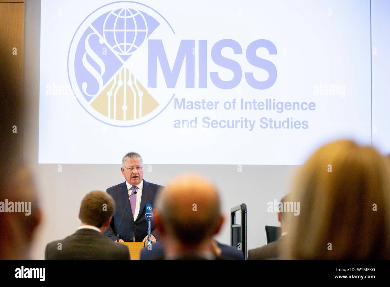 """Berlin, Germany. 03rd July, 2019. Bruno Kahl, President of the Federal Intelligence Service, speaks at the opening ceremony of the Master's programme """"Intelligence and Security Studies"""" for secret service employees at the headquarters of the Federal Intelligence Service (BND). Credit: Christoph Soeder/dpa/Alamy Live News Stock Photo"""