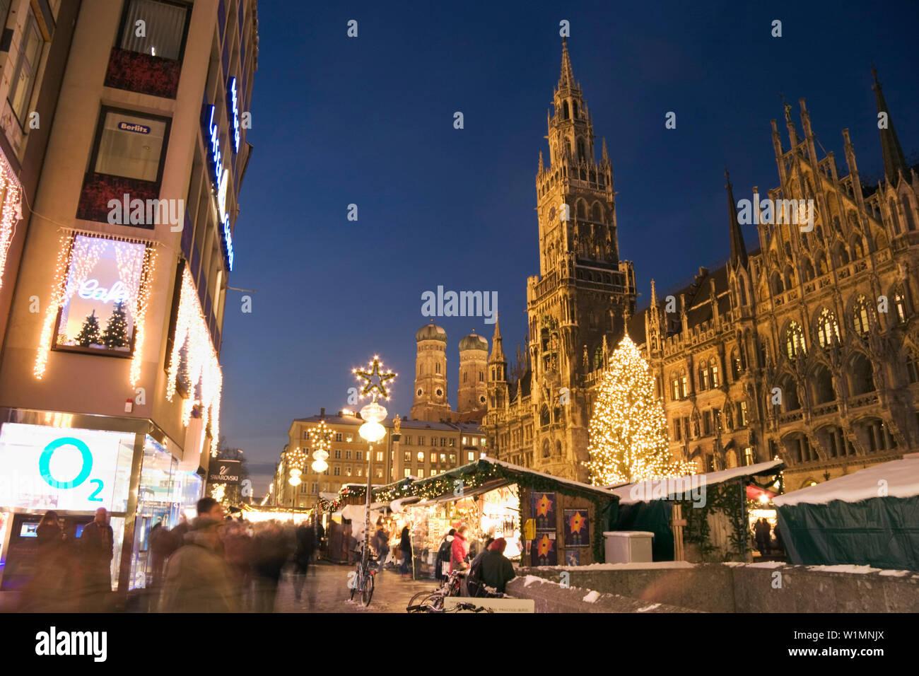 Munich Germany Christmas.Christmas Market On Marienplatz Munich Bavaria Germany