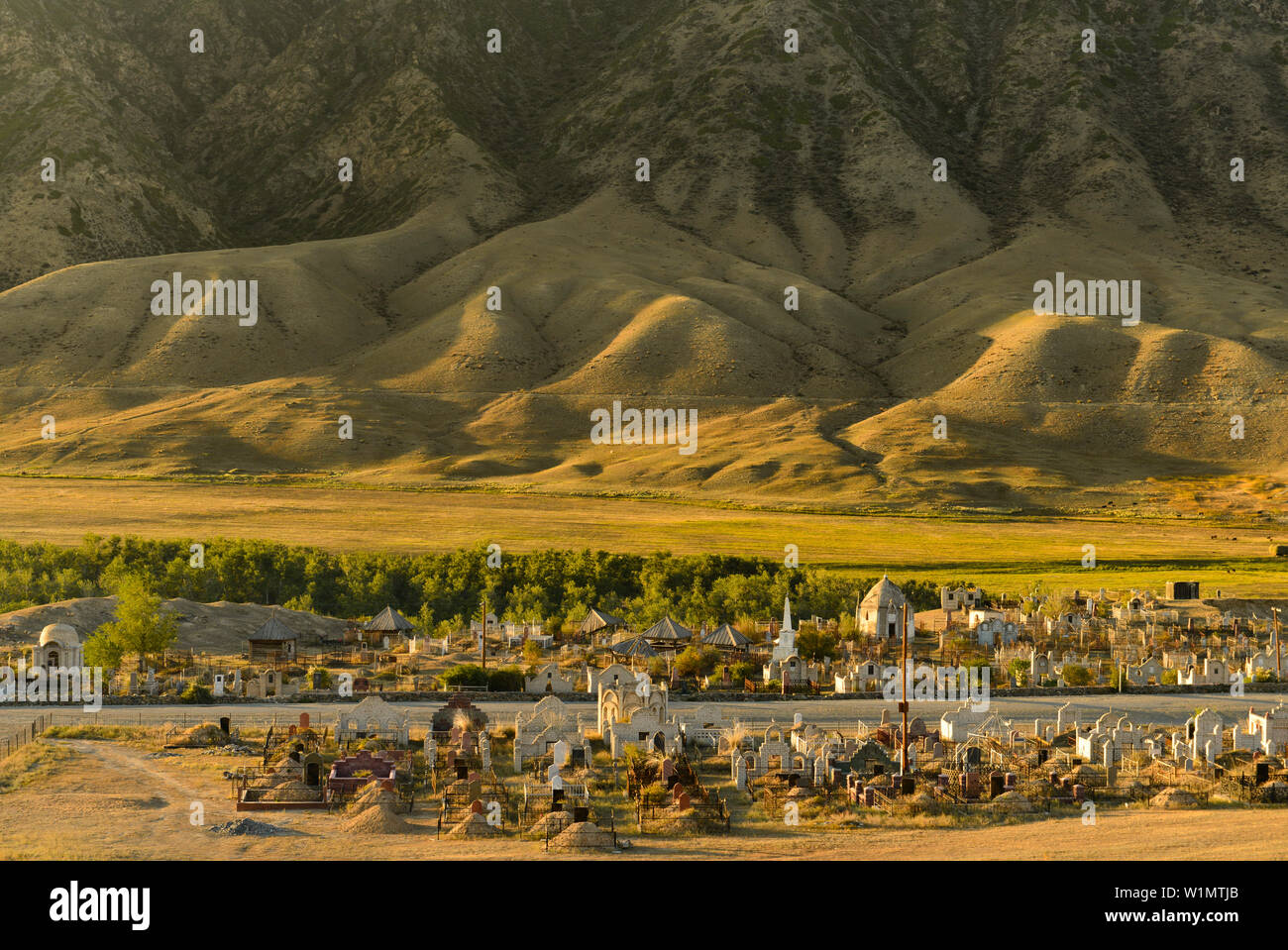 Cemetry of village Saty in front of mountain scenery, Tien Shan Mountains, Tian Shan, Almaty region, Kazakhstan, Central Asia, Asia Stock Photo