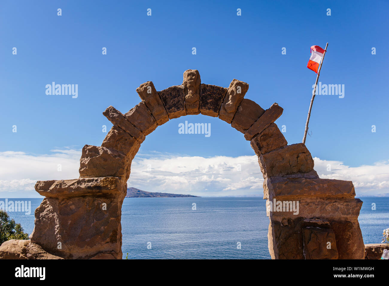 Ruins in lake Titikaka in a clear day in Peru - Stock Image