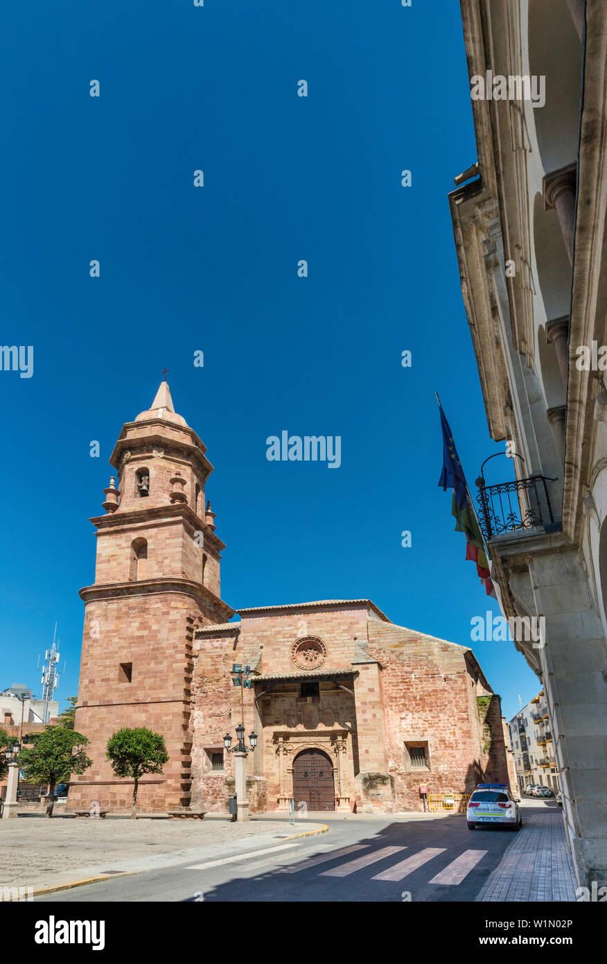 Iglesia de San Miguel Arcangel, at Plaza de España in Andujar, Jaen province, Andalusia, Spain - Stock Image