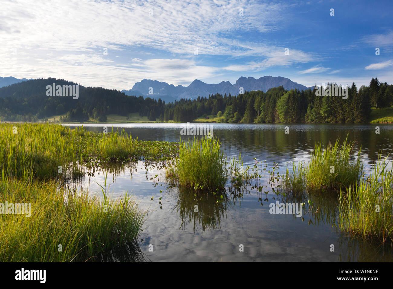 Geroldsee, view to Karwendel, Werdenfels region, Bavaria, Germany - Stock Image