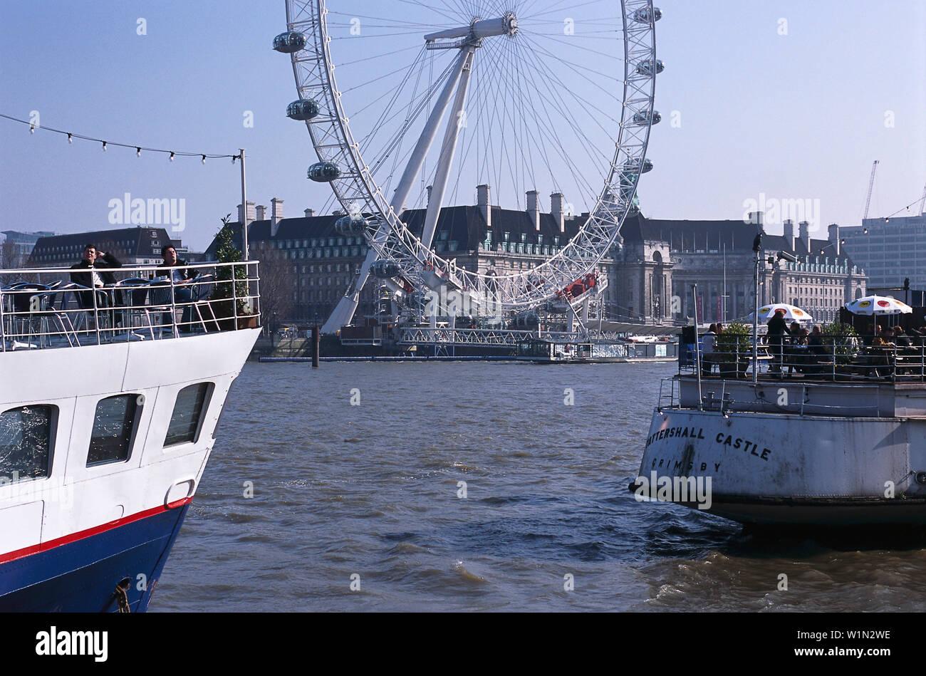 Thames & London Eye, London, England Great Britain - Stock Image