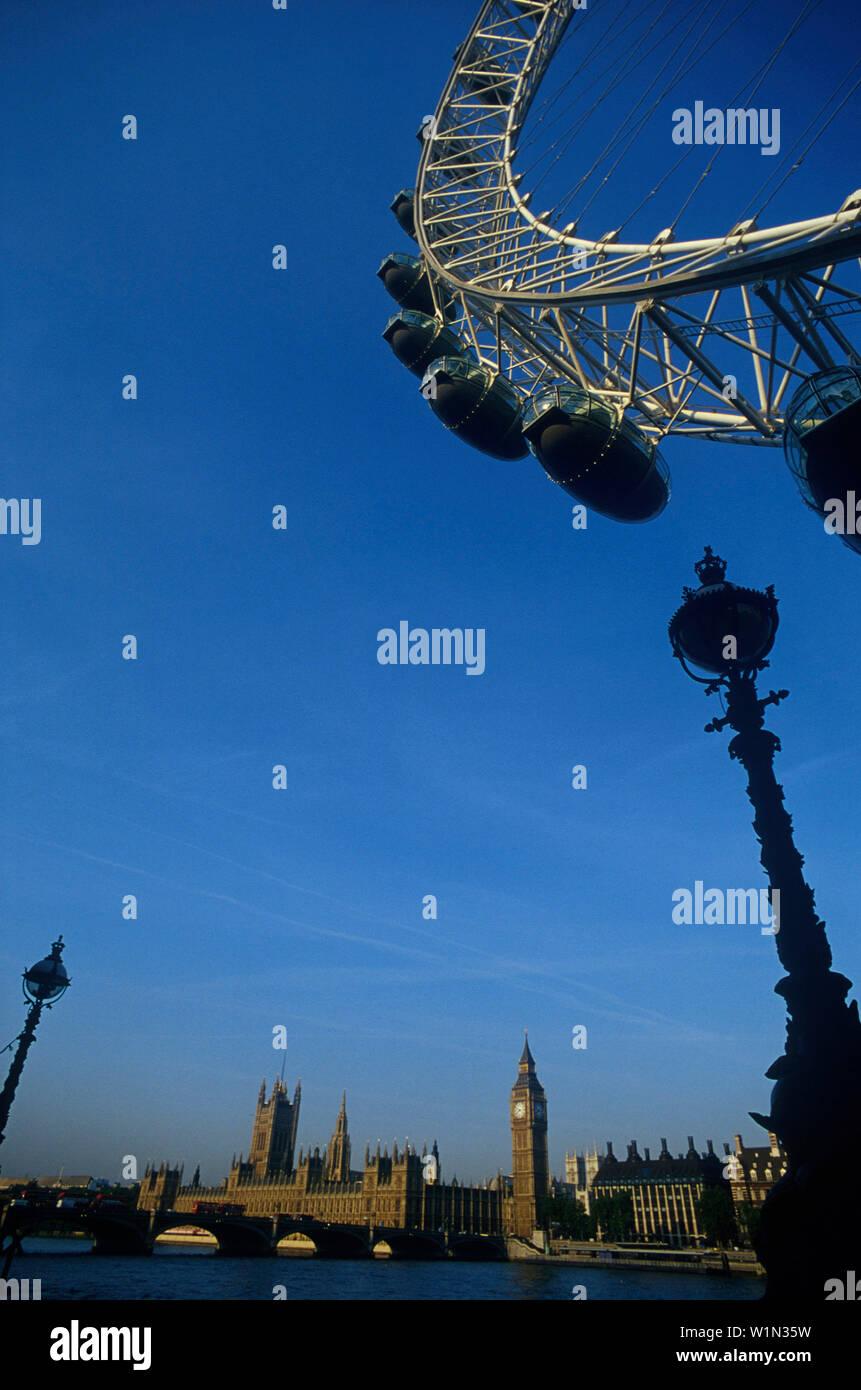 London Eye, Big Ben, Jubilee, Gardens, London England, United Kingdom - Stock Image
